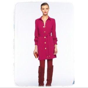 DVF mixed berry/gold Tunis buttondown tie dress